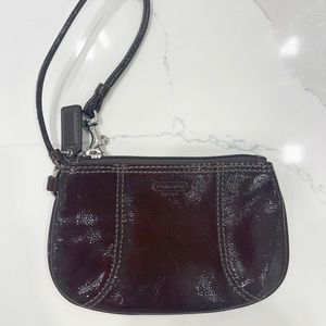Coach Brown Patent Leather Wristlet